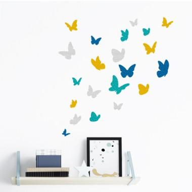 Papillons colorés - Moutarde - Sticker muraux