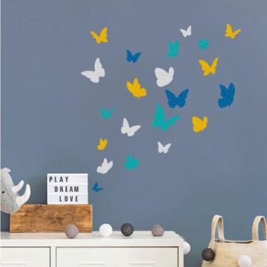 Mariposas de colores - Mostaza - Vinilos decorativos