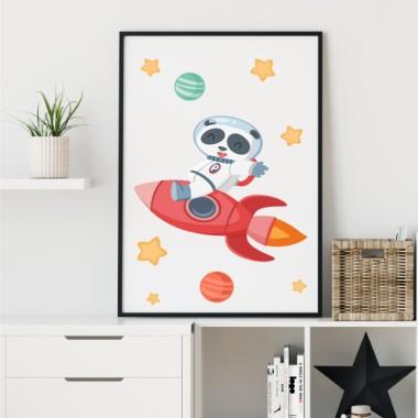 Toiles déco enfant - Panda avec fusée