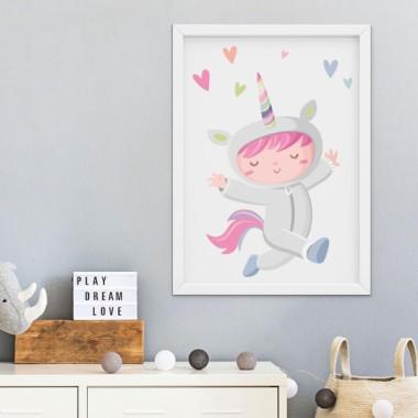 Lámina decorativa infantil - Niña disfrazada de unicornio