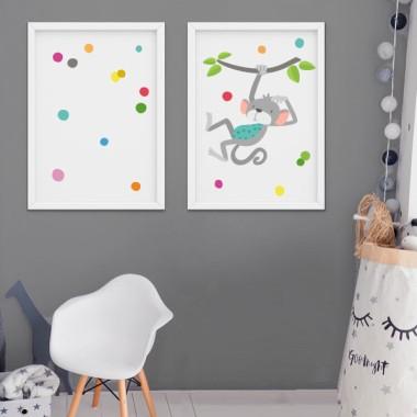 Pack de 2 láminas decorativas - El mono saltarín