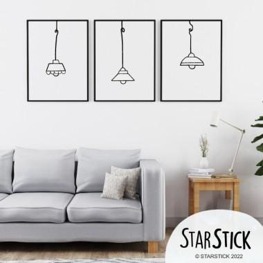 Lot de 3 affiche décoratives - Lampes colorées