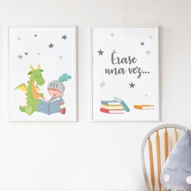 Lot de 2 affiche chambre enfant - Dragon et chevalier lisant + Il était une fois