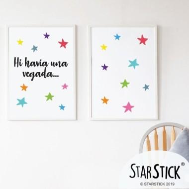 Lot de 2 toiles déco - Il était une fois... + Étoiles colorées