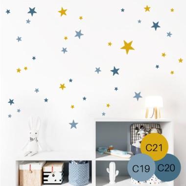 85 Estrellas 3 Colores a elegir - Vinilos decorativos con estrellas Vinilos básicos. Estrellas, topos... Vinilo decorativo con estrellas independientes de distintos colores y tamaños. Vinilos de estrellas de gran calidad para decorar de manera original y creativa, paredes, muebles o superficies lisas. 85estrellas 3 colores aelegir Medidas del vinilo Tamaño de la lámina: 25x60 cm Número total de estrellas: 85 unidades Tamaño de las estrellas: entre 2 y 9,5 cm Tamaño del montaje: 150x150 cm  vinilos infantiles y bebé Starstick