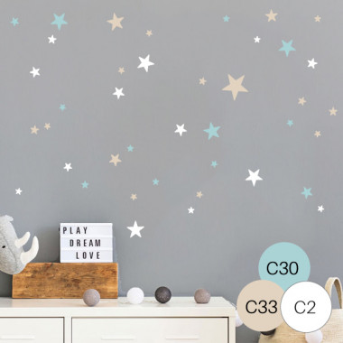Estrelles color. 85 Estrelles 3 Colors a escollir - Vinils decoratius amb estrelles Vinils bàsics. Estrelles, triangles... Vinil decoratiu amb estrelles independents de diferents colors i mides. Vinils de gran qualitat per decorar de manera original i creativa, parets, mobles o superfícies llises. 85 estrelles 3 colors a escollir Mesures del vinil: Mida de la làmina: 25x60 cm Nombre total d'estrelles: 85 unitats Mida de les estrelles: entre 2 i 9,5 cm Mida de el muntatge: 150x150 cm  vinilos infantiles y bebé Starstick