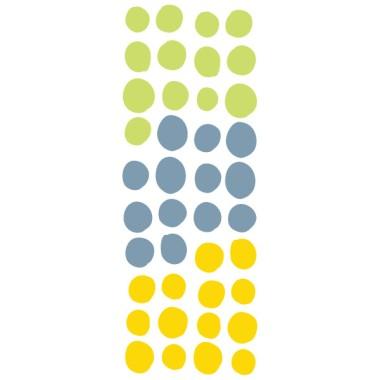 Confeti irregular. 3 Colores a elegir - Vinilo decorativo con topos Inicio Vinilo decorativo con lunares irregulares color a elegir. 40 topos con los3 colores que cada uno prefiera. Perfecto para decorar paredes o muebles. 40 topos Tamaño de la lámina: 2 hojas de 30x20 cm Tamaño del montaje: 150x100 cm Tamaño de los topos: Entre 3 y 5 cm dediámetro cada uno     vinilos infantiles y bebé Starstick