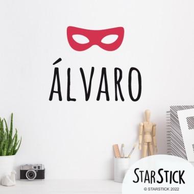 Masque de super-héros avec nom - Sticker nom de porte