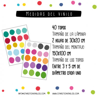 Confeti irregular de colores - Vinilo decorativo con topos