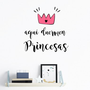 Une princesse dort ici - Stickers phrase