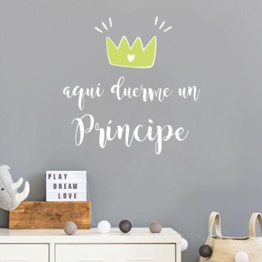 Aquí duerme un príncipe - Vinilos para bebé y niño con frases personalizadas