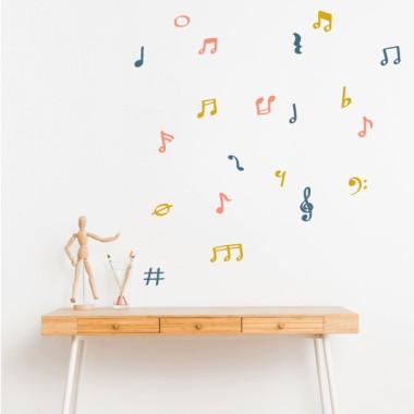 Sticker avec notes de musique et symboles - 3 couleurs au choix
