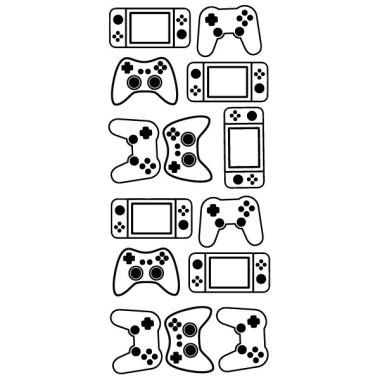 Vinilo videojuegos Mandos cónsolas - 3 colores a elegir videojuegos adolescentes Vinilos infantiles Niño Y para los gamers adolescentes fans de las consolas y los videojuegos, os proponemos un vinilo de videojuegos perfecto para ellos. Mandos de distintas formas y colores para decorar las paredes de las habitaciones o zonas de juego. Se pueden adquirir todos los mandos del mismo color o combinar hasta tres colores diferentes.   Medidas del viniloTamaño de la lámina: 26X60 cmNúmero de piezas: 14Tamaño aproximado el montaje: 125x70 cmTamaño de cada pieza entre 13 y10 cm de ancho cada una    vinilos infantiles y bebé Starstick
