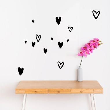 Stickers décoratifs - Coeurs irréguliers - 3 couleurs au choix