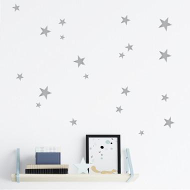 85 Estrellas Plateadas - Vinilo estrellas decorativas