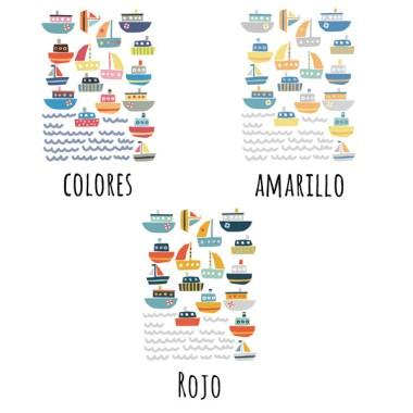 16 bateaux colorés - Stickers pour enfants