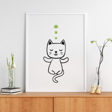 Gato haciendo yoga - Lámina decorativa de pared