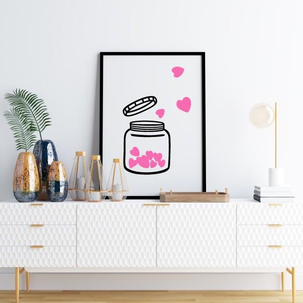 Lámina decorativa de pared - El bote del amor Cuadros hogar ¡Que no falte el amor! Láminas decorativas para gente enamorada de la vida. Un pequeño gran detalle para decorar cualquier espacio de tu hogar y darle un toque lleno de ternura. Medidas (ancho x alto) A4 - 210 x 297 mm A3 - 297 x 420 mm A2 - 420 x 594 mm  Material: Impresión sobre canvas Marco: Opcional vinilos infantiles y bebé Starstick