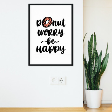 Lámina decorativa de pared - Donut worry. Be happy