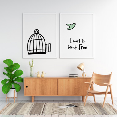 Pack de 2 láminas decorativas - I want to break free