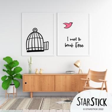 Lot de 2 affiche décoration du maison - I want to break free