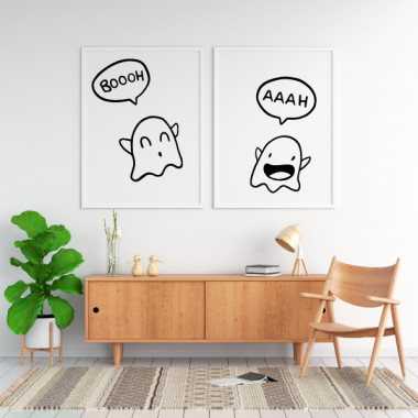 Lot de 2 affiche décoration du maison - Ghost Couple