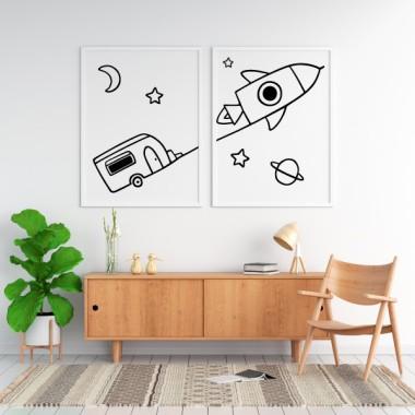 Pack de 2 láminas decorativas - Súper cohete con caravana