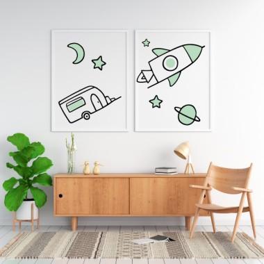 Lot de 2 affiche décoration du maison - Super Rocket avec caravane