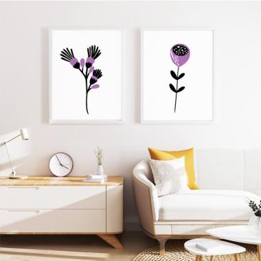 Lot de 2 affiche décoration du maison - Fleurs avec tige