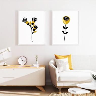 Pack de 2 láminas decorativas - Flores con tallo