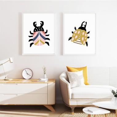 Lot de 2 affiche décoration du maison - Happy bugs