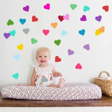 Confeti corazones - Vinilo decorativo Vinilos triángulos y confetis Aporta color a tus paredes con corazones de vinilo de todos los colores. Juega con los colores y pégalos como quieras para conseguir una pared de lo mas original. Vinilos para niñas, de la marca StarStick. Medidas del vinilo 42 corazones Tamaño de la lámina: 60x30 cm Tamaño de los corazones: 6x5,5 cm  AÑADE UN NOMBRE AL VINILO DESDE 9,99€   vinilos infantiles y bebé Starstick