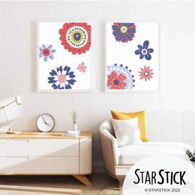 Pack de 2 láminas decorativas - Flores Scandy - Rojo y azul