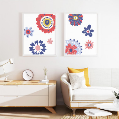 Pack de 2 làmines decoratives - Flors Scandy - Vermell i blau