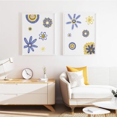 Lot de 2 affiche décoration du maison - Scandy Flowers - Bleu et jaune