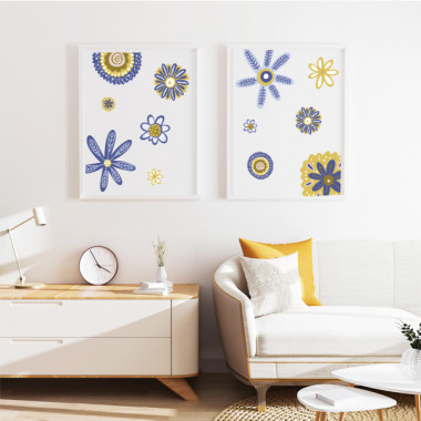 Pack de 2 láminas decorativas - Flores Scandy - Amarillo y azul