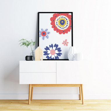Lámina decorativa de pared - Flores Scandy - Rojo y azul