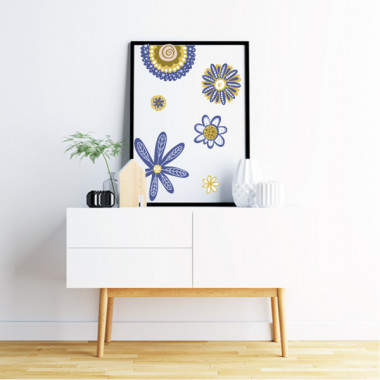 Lámina decorativa de pared - Flores Scandy - Azul y amarillo