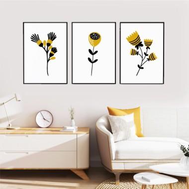 Pack de 3 làmines decoratives - Flors amb tija