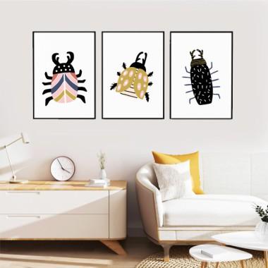Lot de 3 affiche décoratives - Happy bugs