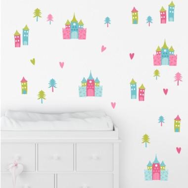 Castillos de princesas y príncipes - 3 Colores a elegir - Vinilos infantiles