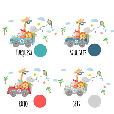Vinilos infantiles - Todo terreno con animales