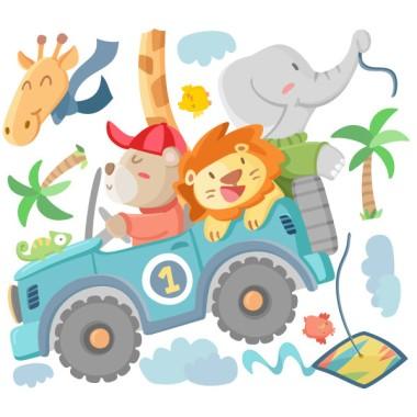 Vinilos infantiles - Todo terreno con animales Vinilos infantiles Bebé Vinilo decorativo de pared con un divertidísimo todo terreno lleno de animales. Una fantástica opción para decorar las habitaciones infantiles. El pack incluye el coche con los animales, las nubes, los pájaros y las palmeras.  Medidas aproximadas del vinilo infantil montado (ancho x alto)Básico: 74x40cmPequeño:110x65 cmMediano: 160x85 cmGrande:240x120 cmGigante:285x150 cm  AÑADE UN NOMBRE AL VINILO DESDE 9,99€ vinilos infantiles y bebé Starstick