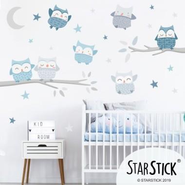 Sticker enfant et bébé - Hiboux Mint - gris - bleu