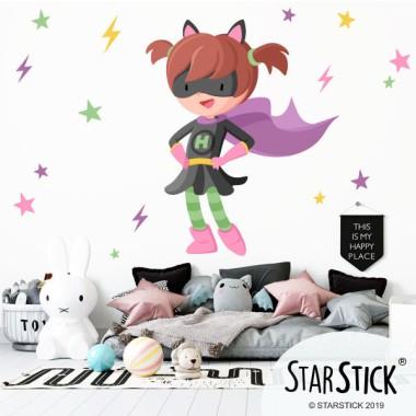 Superheroína con capa - Vinilo decorativo para niñas valientes