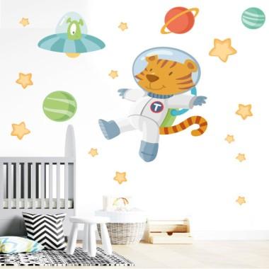 Tigre astronauta i alien - Vinils infantils decoratius