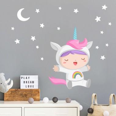 Vinils infantils - Nadó disfressat d'unicorn
