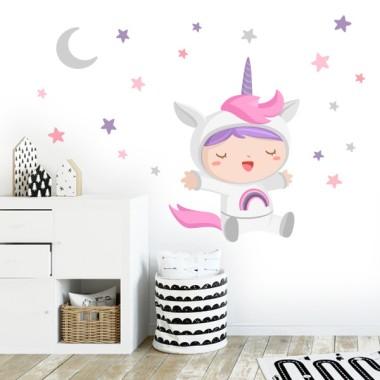 Sticker enfants - Bebé déguisé en licorne
