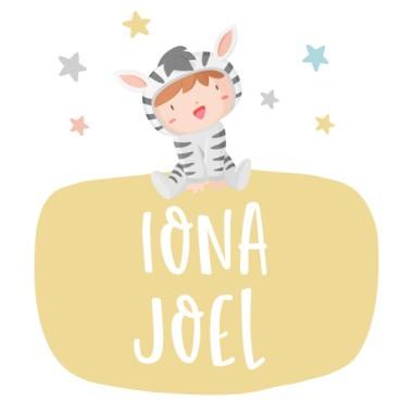 Sticker porte nom - Bébés déguisés - Couleurs pastel