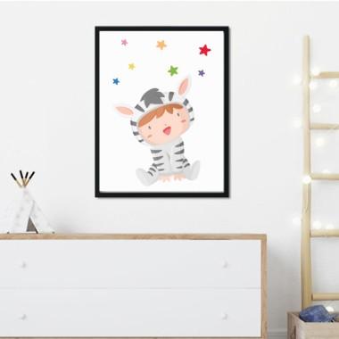 Toiles décoration enfant - Bebé déguisé en zèbre
